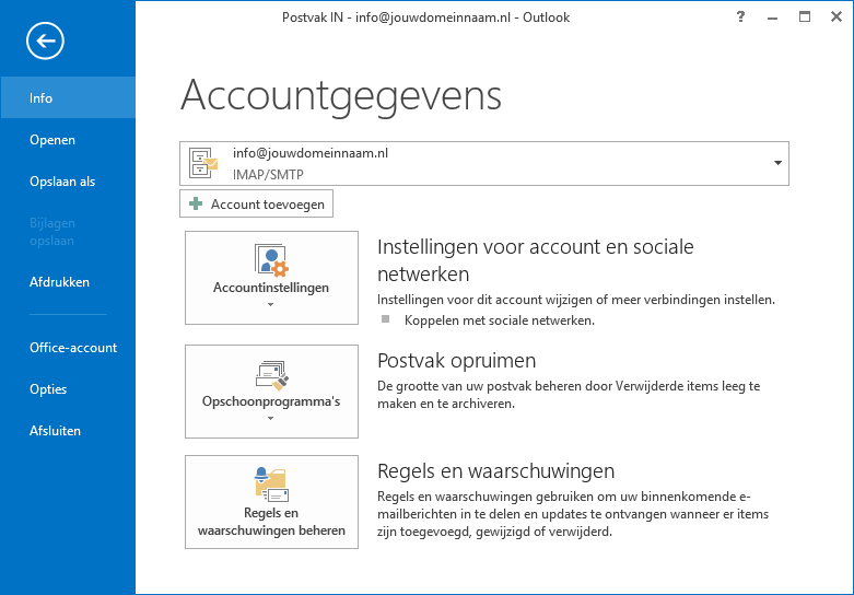 Outlook instellen - stap 2