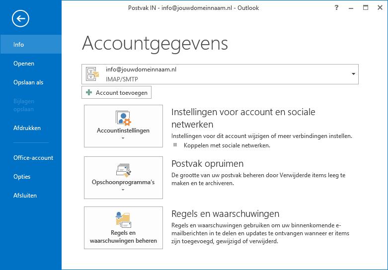 Outlook instellen - stap 2