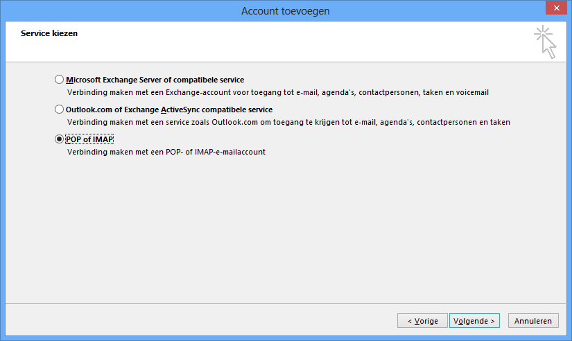 Outlook instellen - stap 4