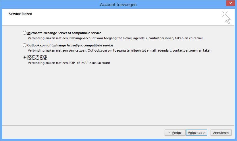 Outlook instellen - stap 4