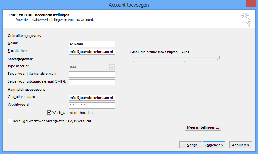 Outlook instellen - stap 5