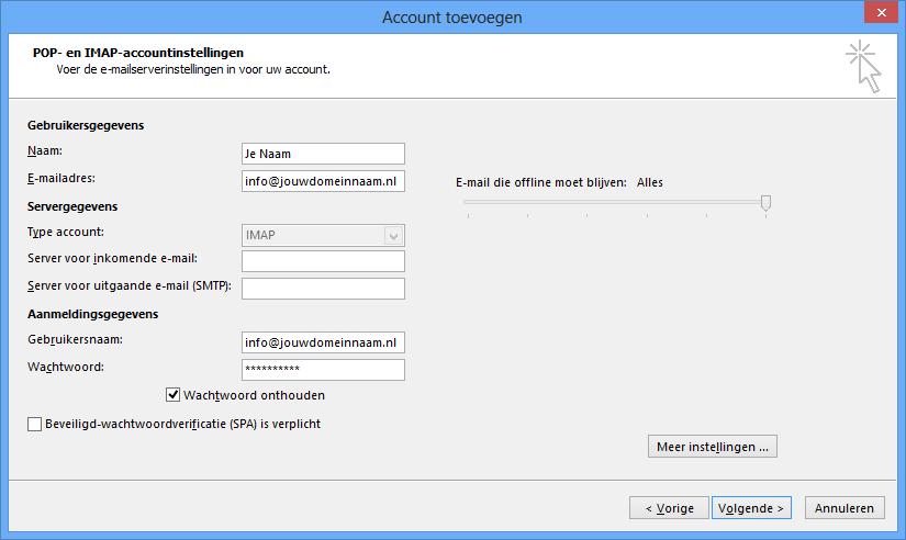 Outlook instellen - stap 5