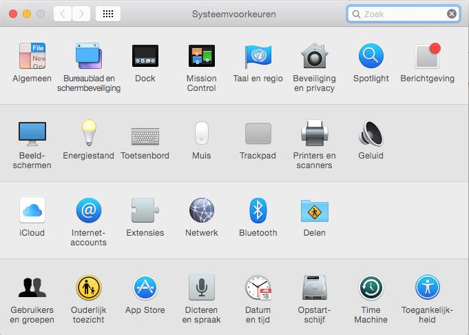 Apple mail instellen via Systeemvoorkeuren