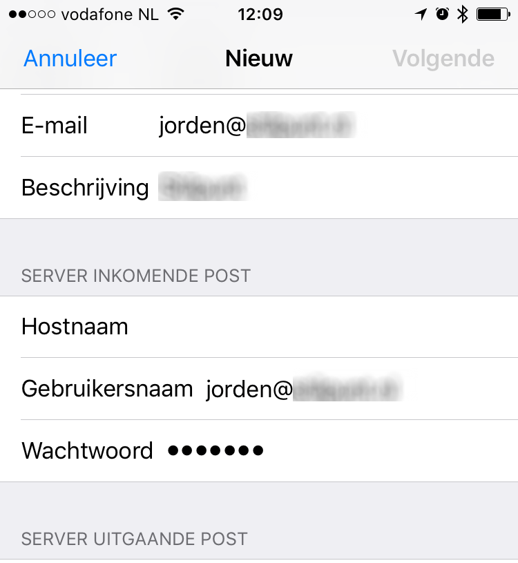 iPhone mail info voor server inkomende e-mail